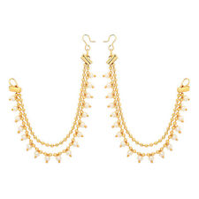 Jwellmart Indian Bollywood Gold Plated Faux Pearl Earrings support / Ear Chains