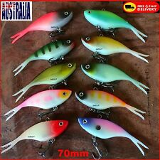 10 Soft Plastic Vibe Fishing Lures 70mm Bass Lure Bream Cod Freshwater Lures