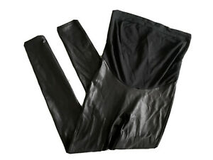 Spanx Mama Faux Leather Very Black Maternity Leggings Size Medium