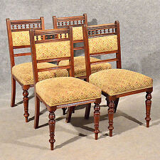 Antique Dining Or Kitchen Chairs X 4 Comfy Sprung Seats Edwardian Mahogany  C1910