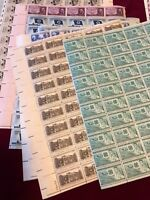 (10) US 3 Cent Sheets MNH OG Post Office Fresh Mostly 1950's