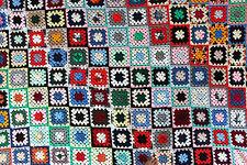 """Huge Vtg Handmade Afghan Granny Squares Blanket Throw Bedspread Size 97"""" x 79"""""""