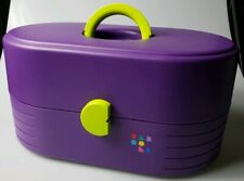 Vtg CABOODLES 2640 Makeup Cosmetic Organizer HTF Color Purple Neon Green Box