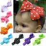 FT- Baby Girl Kids Cute Polka Dot Hair Ribbon Bows Headband Elastic Hairband Coo