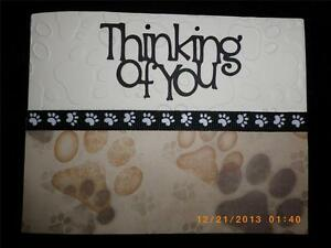 Handmade Beloved Pet Dog Cat Sympathy Card Embossed Thinking of You! Paws Sorry
