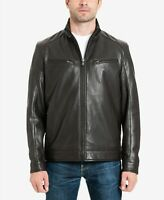 Michael Kors Mens Brown Faux Leather Perforated Moto Jacket Size XS Espresso
