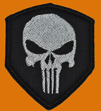 PUNISHER SKULL SHIELD TACTICAL COMBAT SEAL TEAM  3 x 2.5 INCH HOOK PATCH