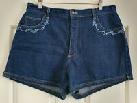 Ladies size 16 High Waisted Embroidered Denim Shorts- Rockmans