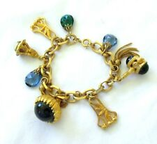 VTG CHARM BRACELET LARGE AND CHUNKY WITH BLUE JEWELS GORGEOUS