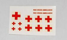 #199 Dinky/Corgi/MB Red Cross Transfers 11 on Square Backing + Red Cross Ambulan
