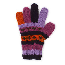 Fair Trade Purple stripe warm winter Wooliy gloves 100% Pure Wool Himalayan made