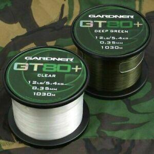 Gardner Tackle GT80+ Mono Carp Fishing Line Dark Green or Clear 10lb 12lb 15lb