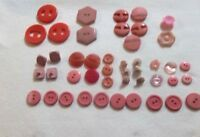 ESTATE SALE::ANTIQUE,VINTAGE BUTTONS, VARIETY OF SHAPES ,SIZES.& PINKS