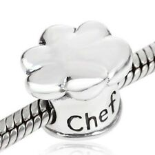 Chef Hat Charm Bead 925 Sterling Silver