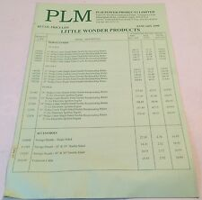 PLM POWER PRODUCTS Little Wonder, Mantis, Shindaiwa Original 1999 Price List