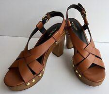 Coach Adessa Heel Calf Leather Saddle Platform Dress Sandals - 9M US - NIB