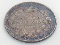 1914 Canada Five 5 Cent Small Silver Circulated Canadian George V Coin J599