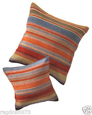 Ooty Large Multi Colour Stripe Cushion Cover Wool Cotton 60 x 60 cm