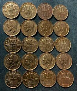 Vintage Belgium Coin Lot - 50 CENTIMES - 20 AU/UNC RED Coins - Lot #L19