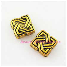 15Pcs Antiqued Gold Square Chinese Knot Spacer Frame Beads Charms 7mm