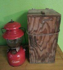 Vintage 8/1959 Coleman 200A Red Single Mantle Lantern w Custom Wood Box AS IS