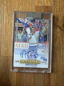 2019/20 UD CLEAR CUT CANVAS SIGNITURES PATRICK ROY BLUE INK 23/25 MONTREAL UNI