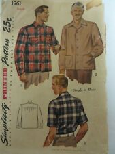 Vintage 40's Simplicity 1961 CAUSAL BUTTON-DOWN SHIRT Sewing Pattern Men Small