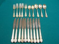Vintage International Fork Spoon Knife Lot 20 Pieces Silver Plate Silverware Old