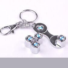 X4 pcs Car Wheel Airtight Tyre Tire Stem Air Valve Caps Spanner for BMW silver