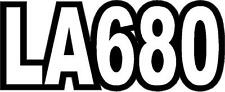 KUBOTA LA680 TRACTOR VINYL DECAL STICKER - WHITE with BLACK OUTLINE - SET OF 2