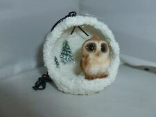 BRAND NEW HANGING BARN OWL SNOWBALL SMALL CHRISTMAS GARDEN ORNAMENT