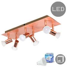 Modern Copper 6 Way LED Ceiling Spotlight Fitting + Cool White GU10 Light Bulbs