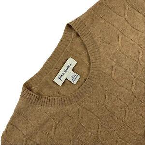 Mint ! Large John Nordstrom Light Brown 100 % Cashmere Cable Knit Crew Neck