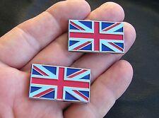 UK ~ UNION JACK SMALL PAIR CAR BADGES Flag Emblems suit Morris MG Triumph Riley