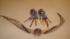 NavajoTony Kyasyousie Hopi Concho Gemstones Bracelet & Earrings Set in Sterling