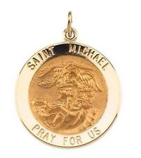 St. Michael the Archangel Medal 14K Yellow Gold or 14K White Gold Round 18mm