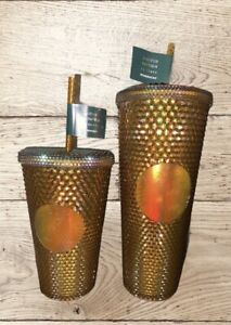 Starbucks 50th Anniversary 16oz AND 24oz Studded Tumbler Gold/Copper In Hand!