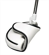 One (1) White/Black Piping Mallet Putter Head Cover/Headcover-No Logo