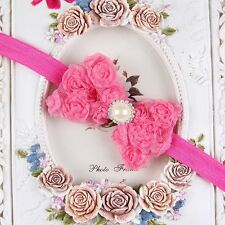 Baby Girl Kid Pearl Headband Rose Bow Lace Flower  Baby Hairband  Kawaii