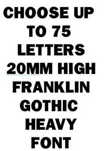 20mm Self Adhesive Sticky Numbers / Letters, 76 off, Franklin Gothic Heavy