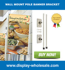 "Wall Mount Pole Banner Bracket 18"" with 18"" x 36"" Banner Print"