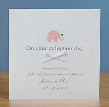Handmade Personalised Adoption Day Card - Pink, Blue, Green, Silver