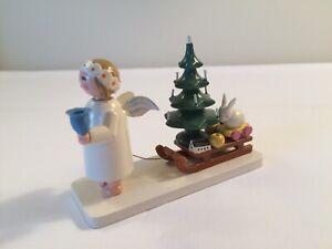 Erzgebirge Angel Pulling Sled w/Christmas Tree-Rabbit German Democratic Republic