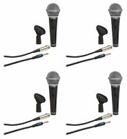 (4) Samson R21S Dynamic Handheld Microphones+Mic Clips+Cables+3.5mm adapters