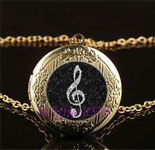 Black musical note Cabochon Glass Gold plating Locket Pendant Necklace