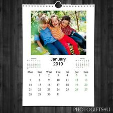 PERSONALISED A4 CALENDAR 2019 | 13 PAGES WITH YOUR PHOTOS + YOUR TEXT ON COVER