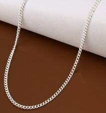 WOMENS SILVER PLATED THIN CURB CHAIN NECKLACE 22 INCH 55cm x 2mm REPLACEMENT N25