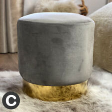Luxury Velvet Light Silver Grey Stool Pouffe Small Gold Base Modern