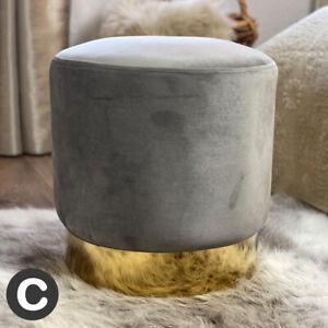 Luxury Velvet Light Silver Grey Stool Pouffe Small Gold Base Modern