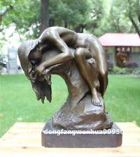 Western art deco bronze seminude long hair women Girl fair maiden art sculpture
